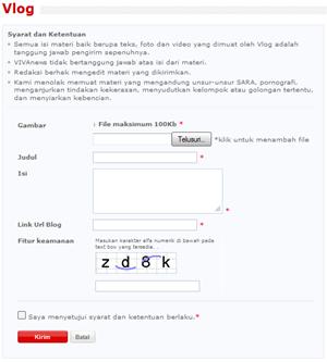 Form Pengisian Submit Blog Ke VivaLog - VivaNews | Khamardos BLog