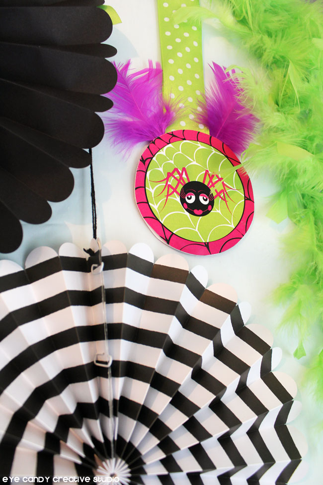 halloween decor, glam spider, party circles, halloween printables