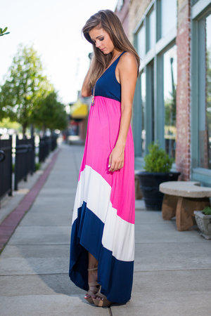 Color Block Star Maxi Dress, Navy