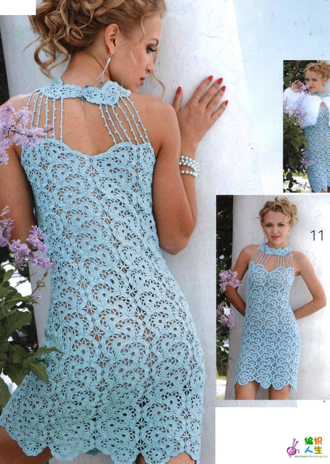 croch e outras coisitas vestido de croch azul