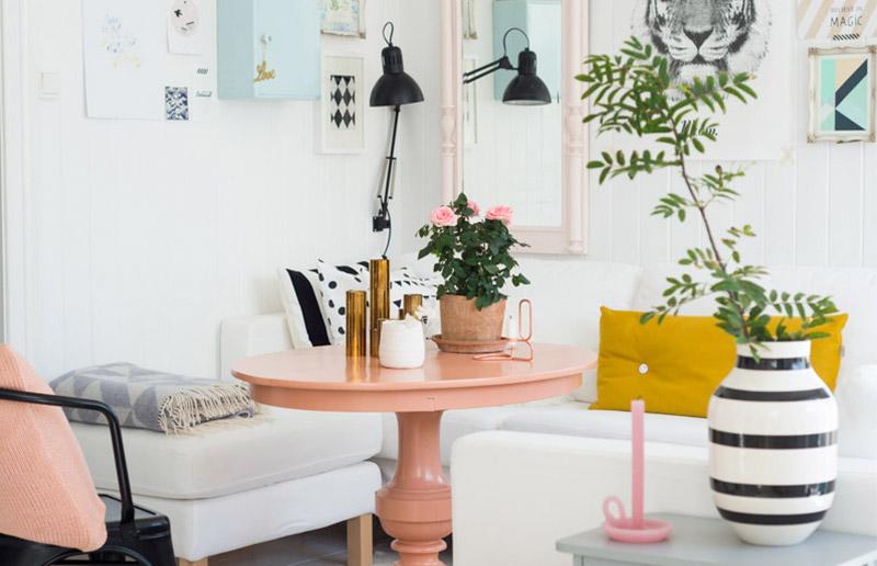 Uma sala bem bonita branca e rosa para te inspirar!