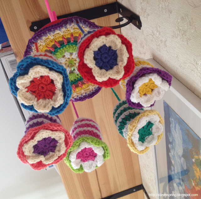 crocheted baby mobile