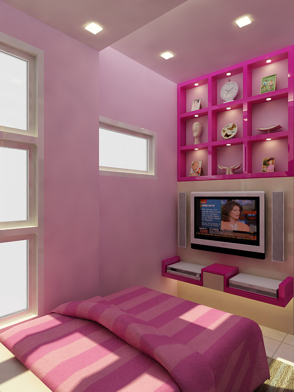 small bedroom with a minimalist color combination of pink