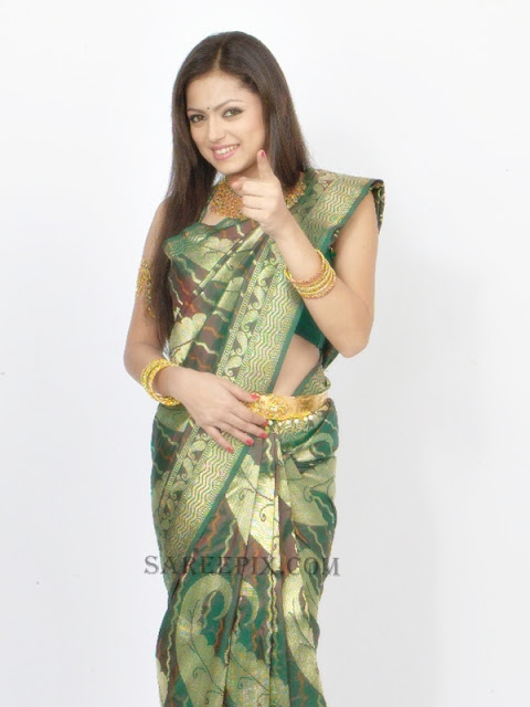 Drashti-dhami-green-silk-saree-RKS-grand-shopping-mall
