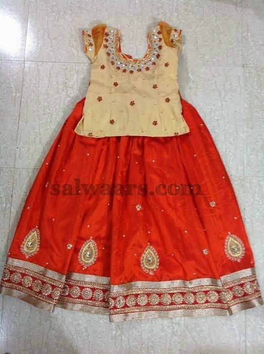 Orange Crepe Skirt with Cream Blouse