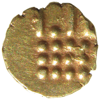 12 pellets coinsidered to represent the 12 Rasi or Zodiacal signs with lines and pellets beneath. Or abstract of stylistic Boar standing right similar to Hoysala fanam and vira raya.