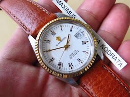 SANDOZ WHITE ROMAN DIAL - GOLD FLUTED BEZEL - AUTOMATIC