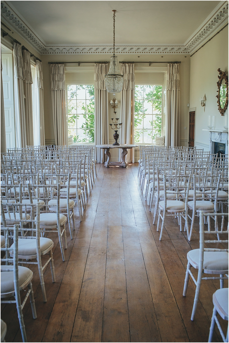 Pynes House ceremony room with chairs laid out