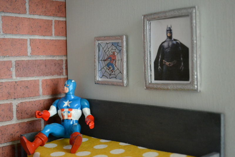 I Bought The Two Frames For $1.40/each At Hobby Lobby In The Dollhouse  Section, They Were Gold! Then I Just Spray Painted Them Metallic And Added  The Batman ...