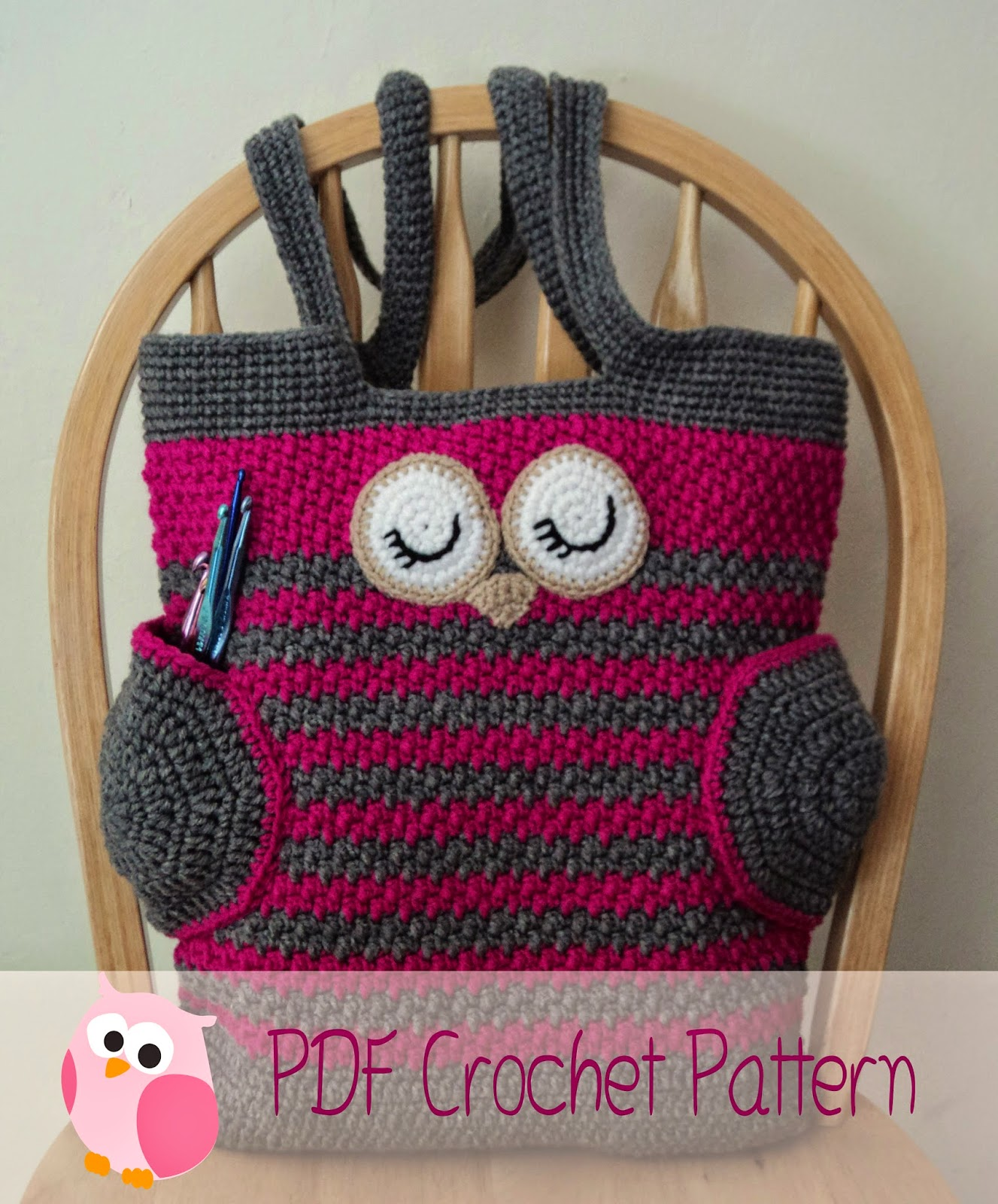 Crochet Dice Bag Pattern : Cute Little Crafts: Crochet Pattern:Sleepy Owl Tote Bag