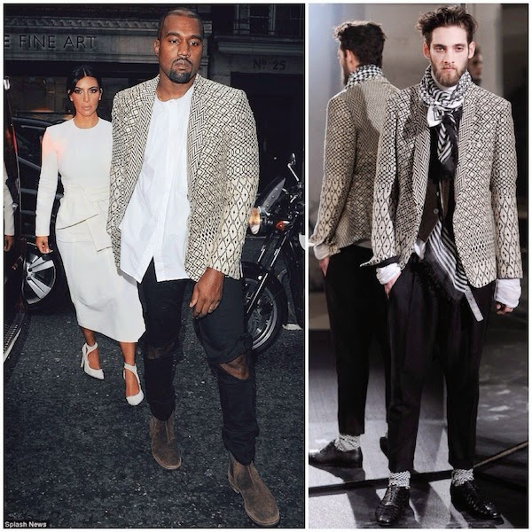 Kanye West wears HAIDER ACKERMANN cream Geometric woven jacquard blazer in London September 2014