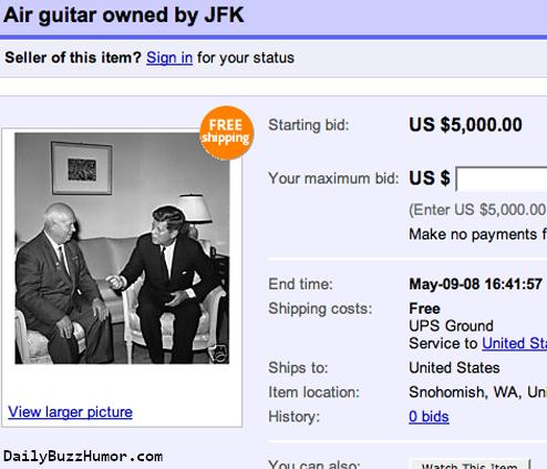 Daily Buzz Humor: Air Guitar, Owned By JFK