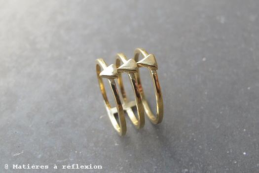 Bague triple triangles Stalactite bijoux vermeil