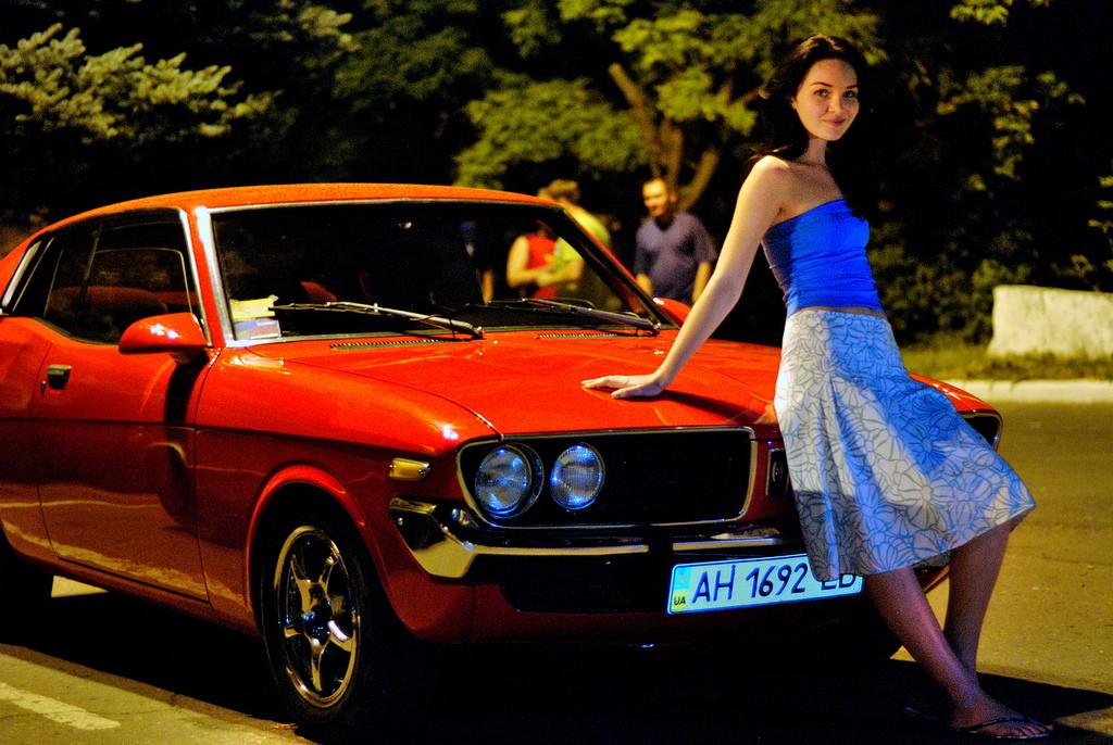 kobiety, dziewczyny, samochód, sesja, toyota corona mark II