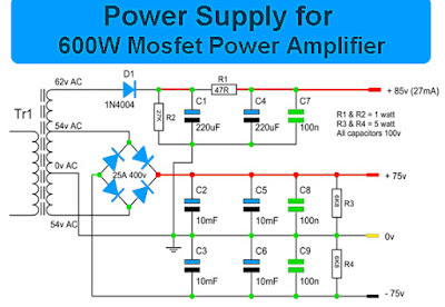 Power Supply for 600 Watt Mosfet Power Amplifier