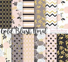 Digital Paper GOLD BLUSH FLORAL