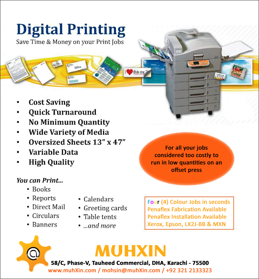 Digital Printing Services : Muhxin creative communication agency in karachi