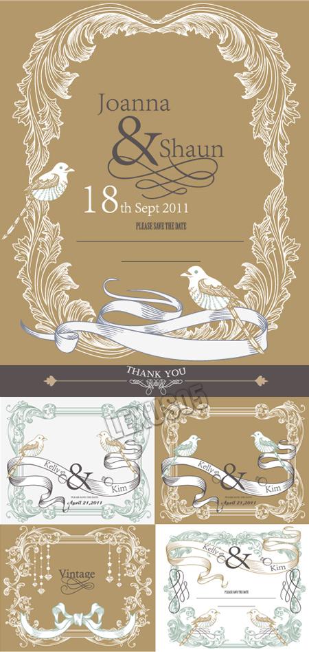 Vintage Wedding Card Designs Vector Stock