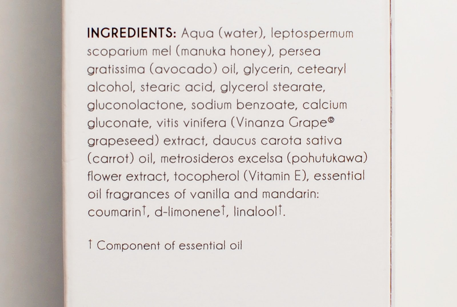 Antipodes Aura Manuka Honey Mask ingredients
