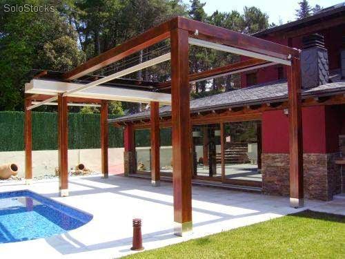 Arquitectura de casas p rgolas de madera complementos for Pergolas para piscinas