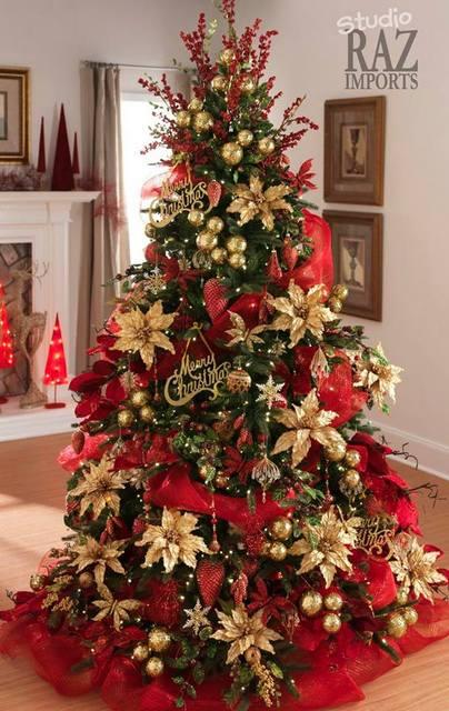 Arbol navidad rojo dorado