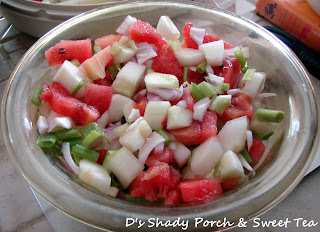 Watermelon Cucumber Salad with Sweet & Sour Dressing