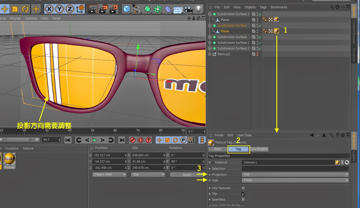 Texture + Render Retro plastic glasses in C4D  07