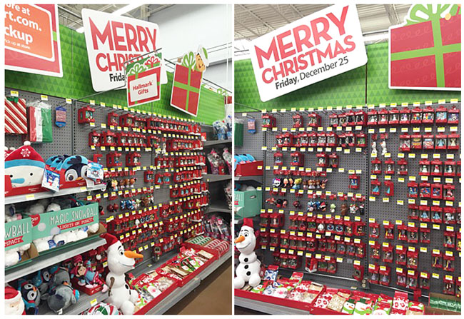 holiday display of Hallmark ornaments at Walmart