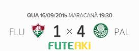 O placar de Fluminense 1x4 Palmeiras pela 26ª rodada do Brasileirão 2015