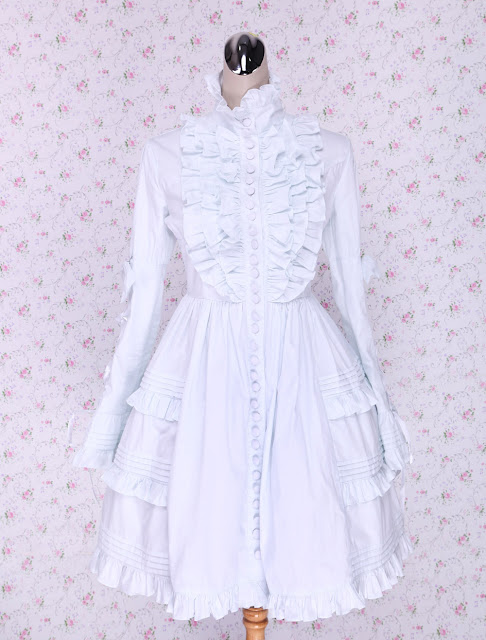 White Lace and Ruffle Classic Lolita Dress