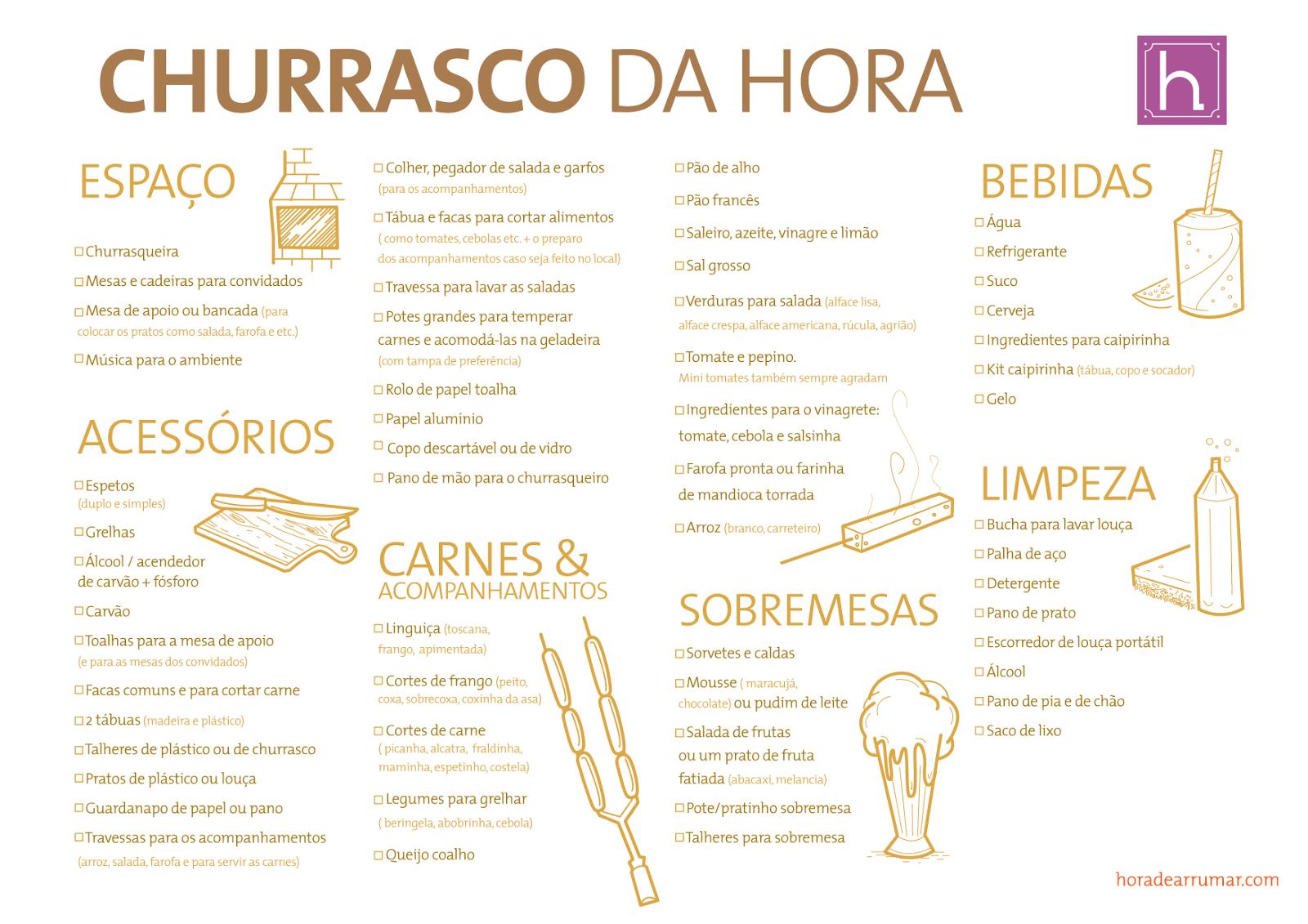 Hora De Arrumar Checklist B Sico Para Churrasco