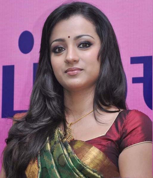 Cute Looking Trisha in Pattu Kathan Saree and Short Sleeve Blouse