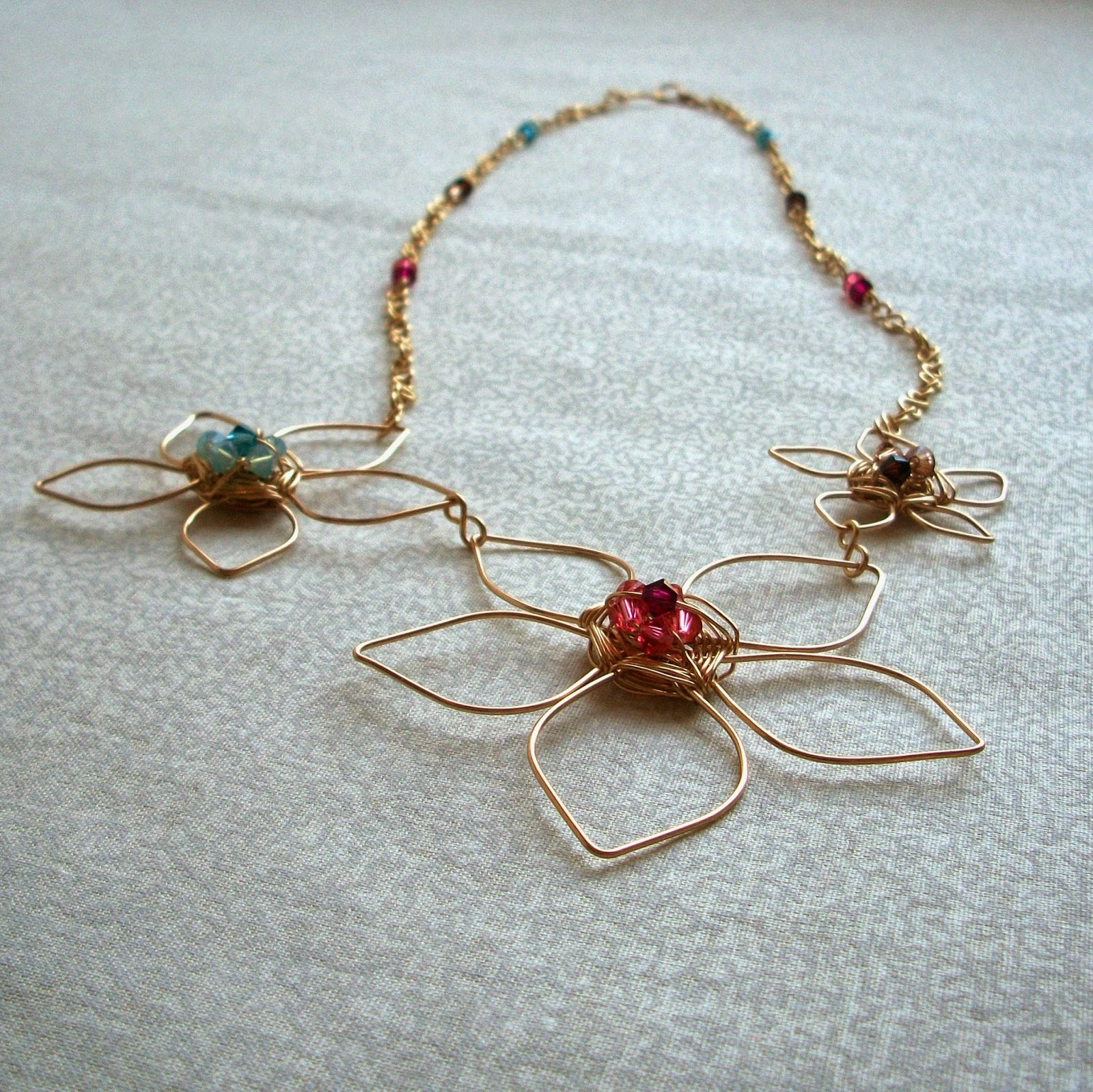 Wirework Flower Necklace with Teal, Coral & Brown Crystals