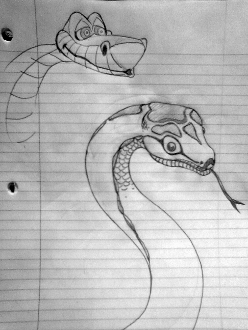 Drawing of kaa from the jungle book