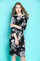 2017 Three Quarter Sleeve Light Yellow Flowers Black OL Dress