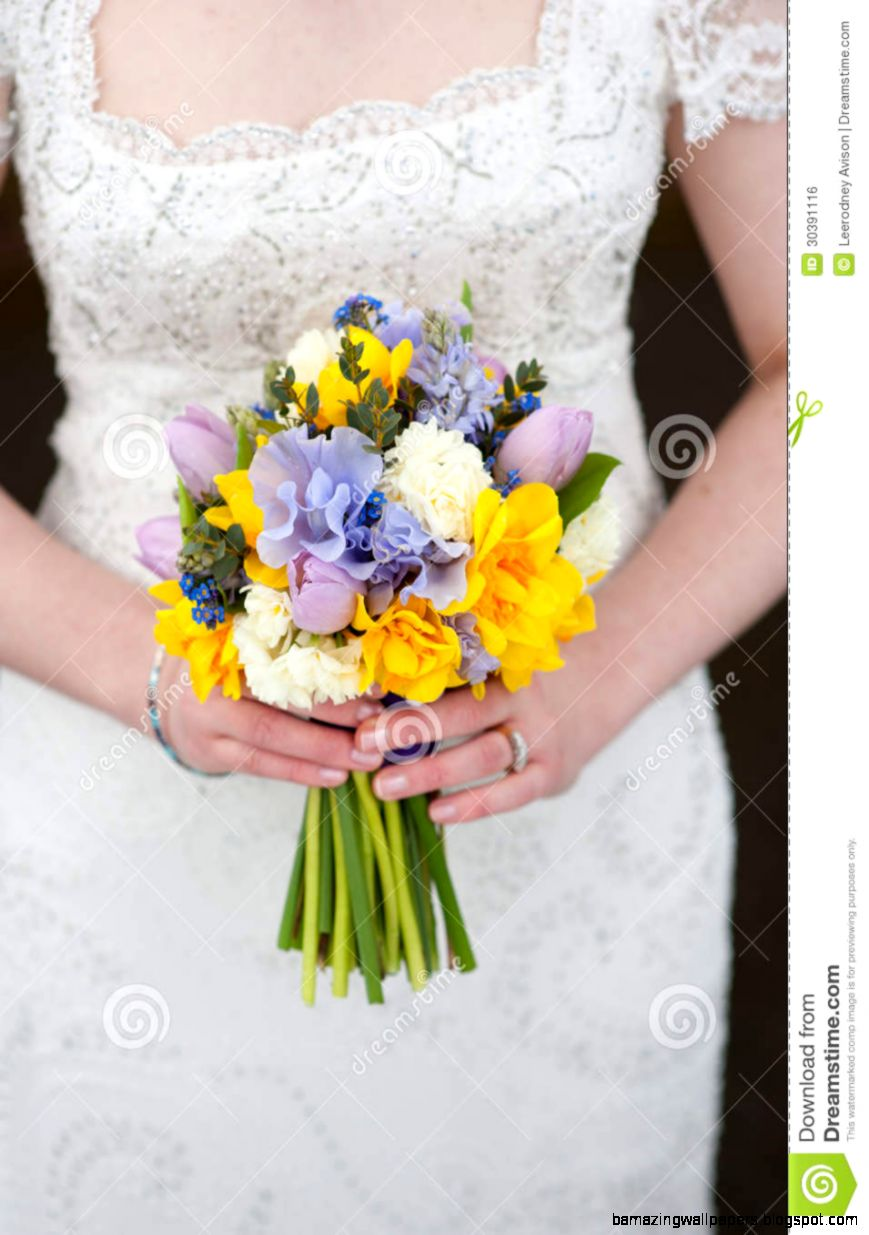 Bride Holding A Wedding Bouquet Of Spring Flowers Royalty Free