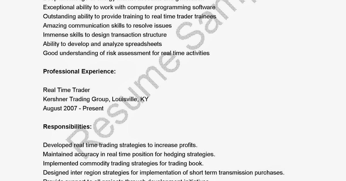 resume samples  real time trader resume sample