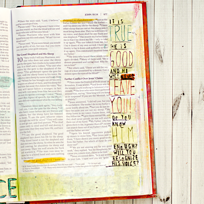 Art Worship Mixed Media Art Journaling Bible | Illustrated Faith | John 10