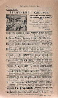Vintage schools listing from a 1920's London guidebook