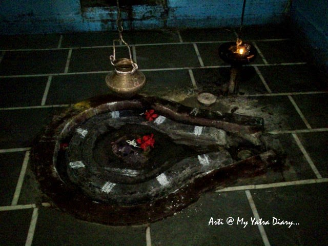 The ancient Shivling at the Sangameshwar Shiva Temple, Saswad, Pune