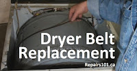 demonstrating a belt around a dryer drum