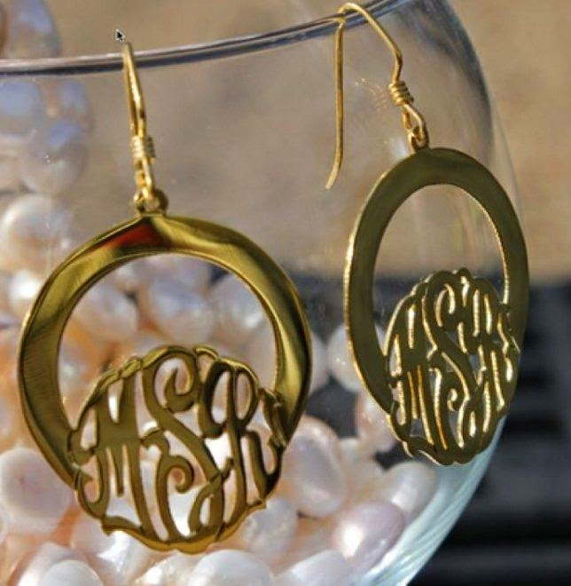 hanging script oval filigree earrings