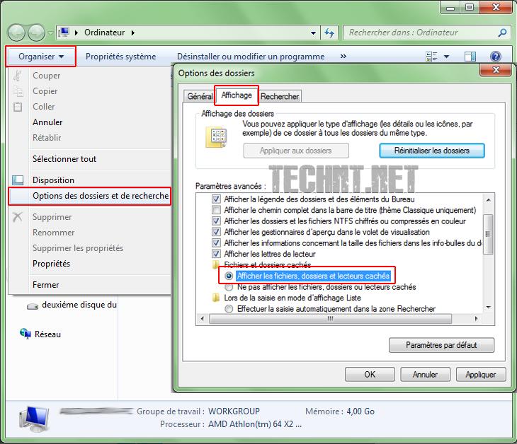 طريقة إظهار الملفات المخفية على الويندوز - التقنية نت technt.net