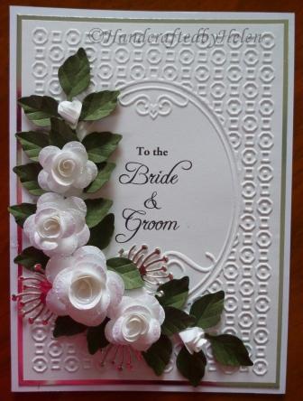 White Roses Wedding Card