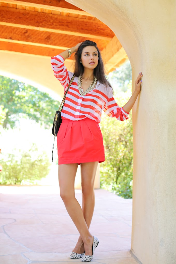 Red mini skirt and latest fashion