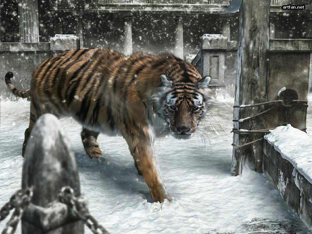 tigre 3D. fondo te un tigre caminadno sobre la nieve 3D