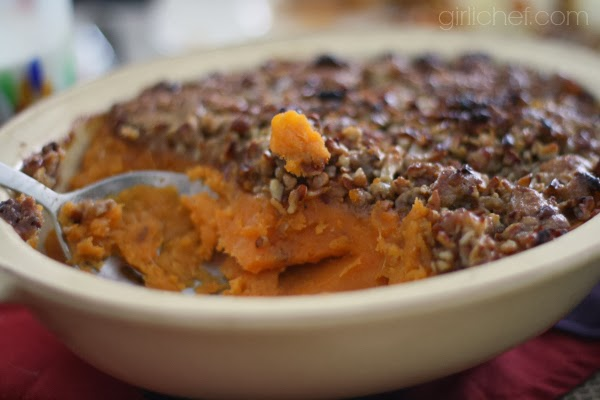 Whipped Sweet Potatoes and Bananas with Pecan Streusel | www.girlichef.com