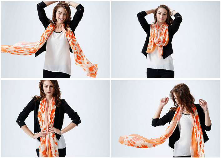 Silk Square Scarf - white room-3 by VIDA VIDA