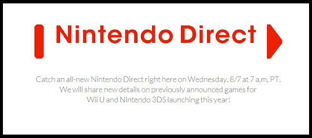 Announcement of Nintendo Direct presentation scheduled for August 7th, 2013