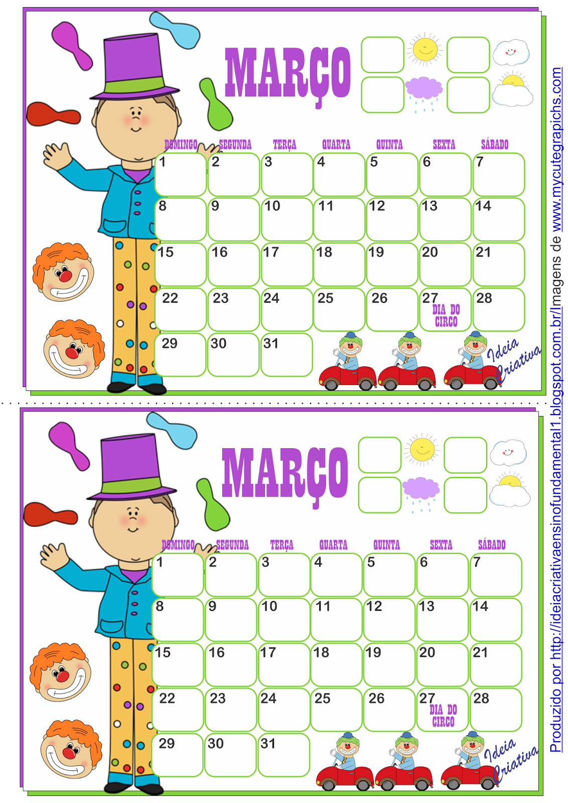 Calendários Março 2015 para Fundamental I Tema Circo